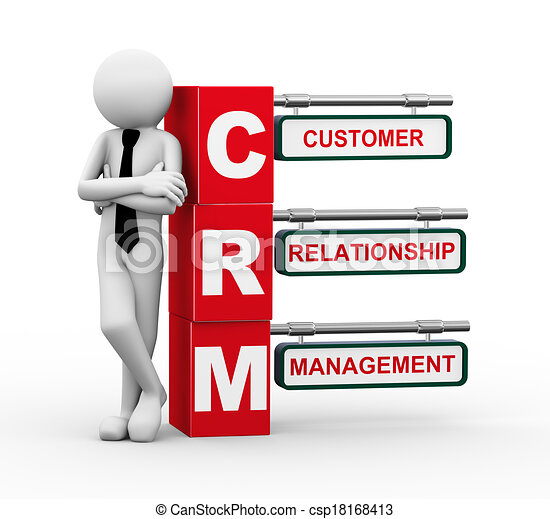 Clipart of 3d businessman with crm signpost illustration ...