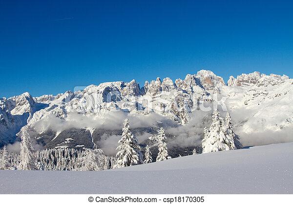 winter landscape, Paganella, Trento, Italy
