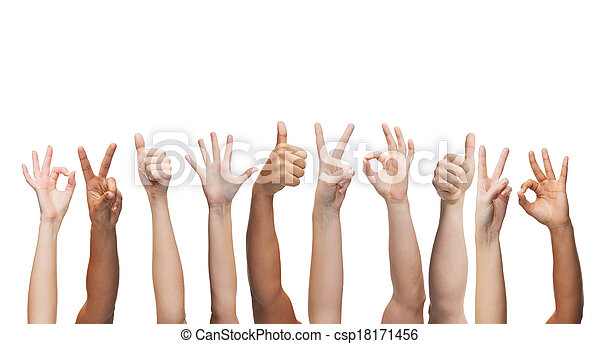 human hands showing thumbs up, ok and peace signs - csp18171456