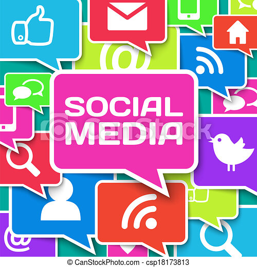 Communication icons over blue background - csp18173813