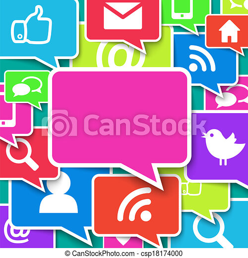 Communication icons over blue background - csp18174000