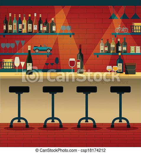 Vector clip art de club y restaurante barra en el for Barra bar madera dibujo