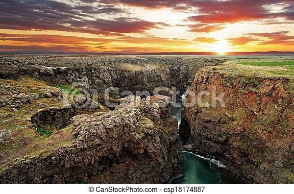 Iceland - Canyon Kolugil at sunset - csp18174887