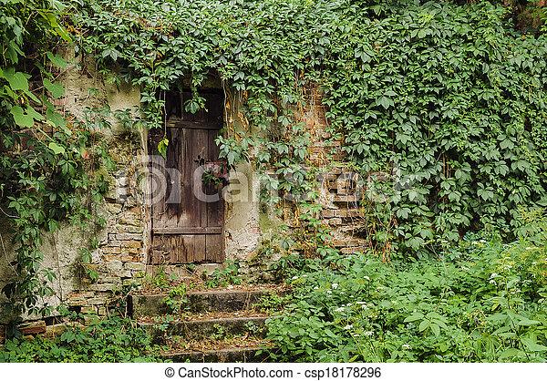 Banque de photographies de porte mur maison - Comment se debarrasser du lierre ...