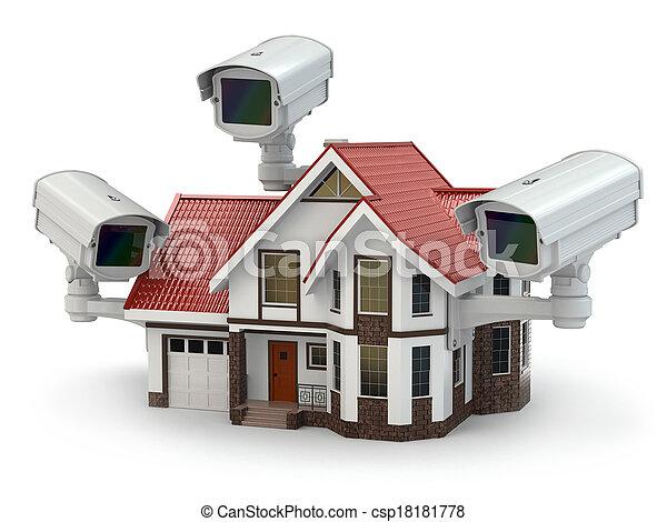 CCTV, セキュリティー, カメラ, 家 - csp18181778