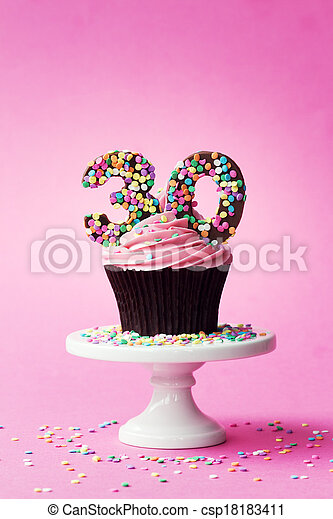 30th birthday cupcake - csp18183411