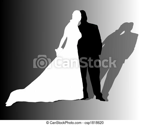 illustration de couple noir blanc mariage mariage couple noir et csp1818620. Black Bedroom Furniture Sets. Home Design Ideas