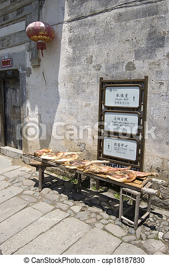 drying meat and sign - csp18187830