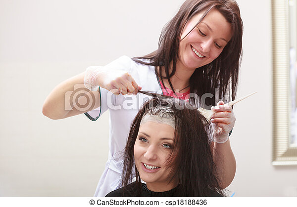 Hairdressing beauty salon. Woman dying hair. Hairstyle. - csp18188436