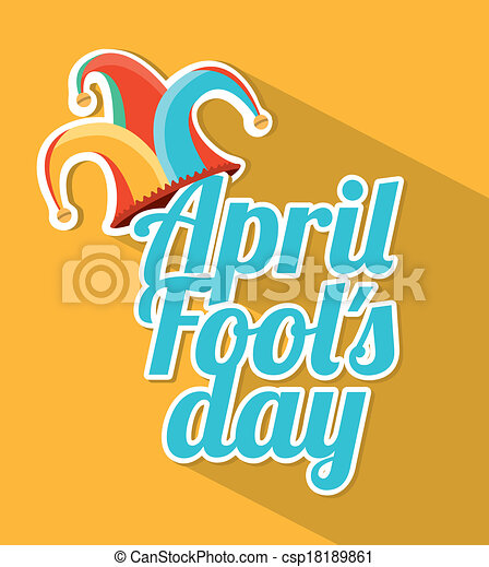 Clip Art Vector of april fools day over yellow background vector ...