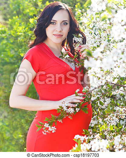 Pregnant woman in red dress in the flowering spring park - csp18197703