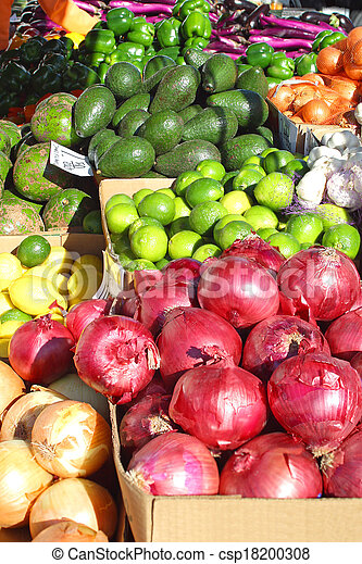 Colorful Fruits and Vegetables at Farmer's Market - csp18200308