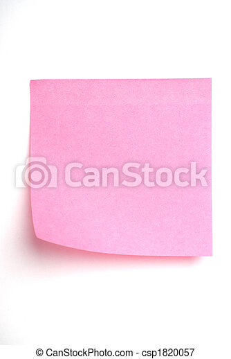 Pink post it note isolated on white - csp1820057