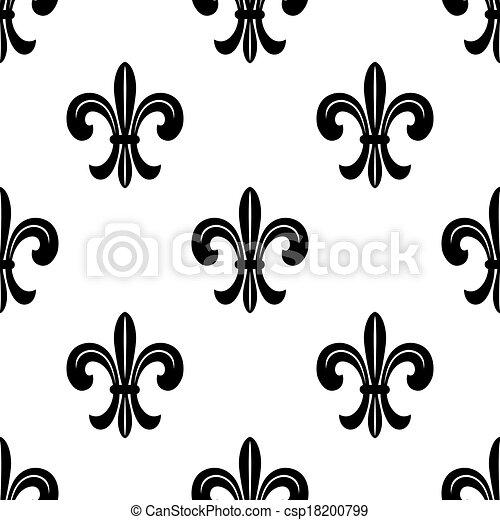 eps vektoren von stilisiert franzoesisch fleur de lys seamless muster csp18200799. Black Bedroom Furniture Sets. Home Design Ideas