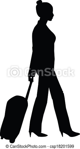 Traveling Woman Silhouette - csp18201599