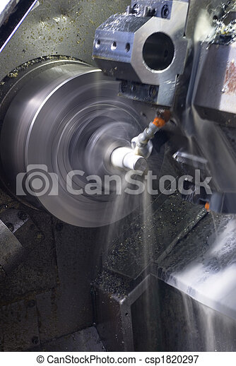 CNC lathe running with coolant - csp1820297