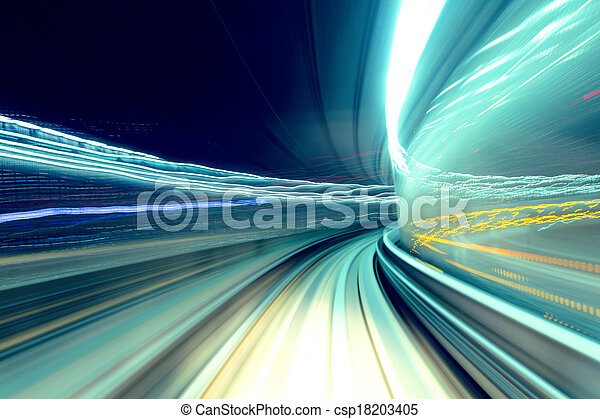Fast train passing tunnel - csp18203405