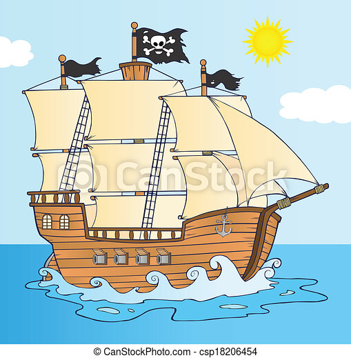 Clipart Vector of Pirate Ship Sailing Under Jolly Roger Flag csp18206454 - Search Clip Art ...