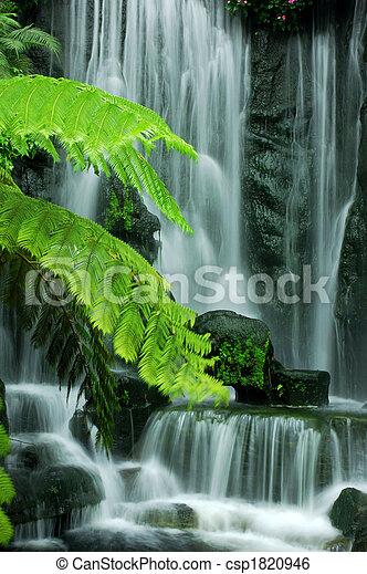 jardín, cascadas - csp1820946
