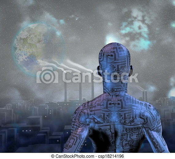 Android before smog filled city with tearraformed moon in sky - csp18214196