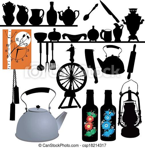 식탁용 식기류, 시계, 회전시킴, 바퀴, 램프 csp18214317의 벡터 클립 ...
