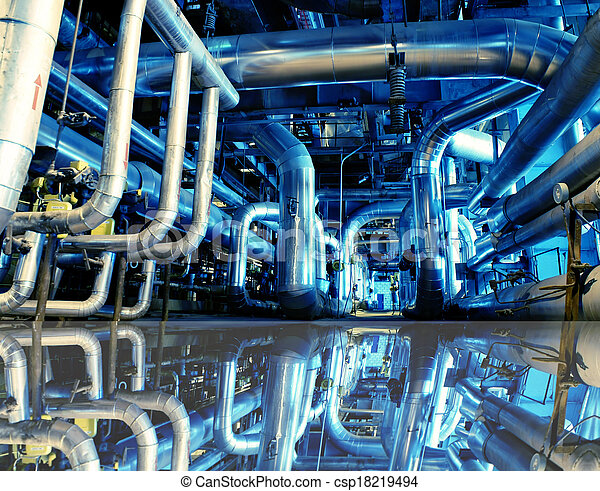 Industrial zone, Steel pipelines in blue tones with reflection - csp18219494