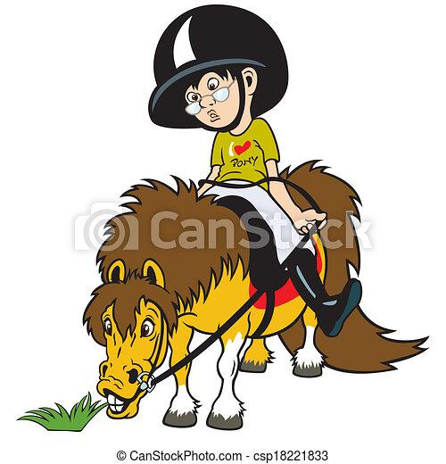 Vecteurs de gar on poney dessin anim quitation dessin anim csp18221833 recherchez - Pony dessin anime ...