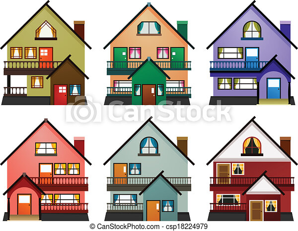 Vectors illustration of front view of various modern Drawing modern houses