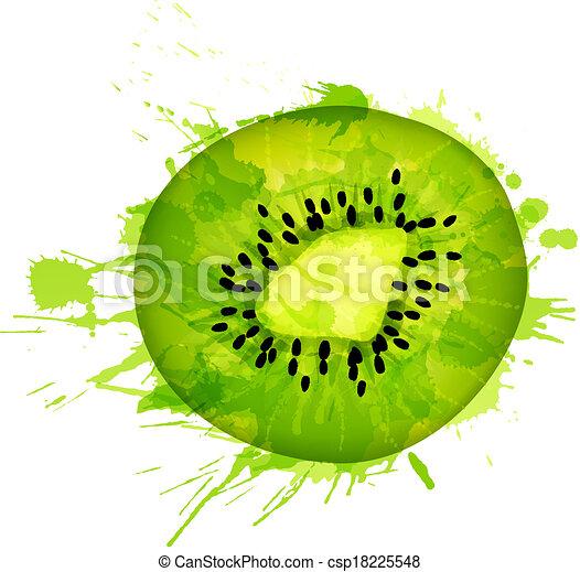 Kiwi Slice Drawing Kiwi Fruit Slice Made of