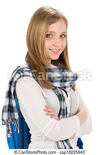 En estudiante de corte adolescente