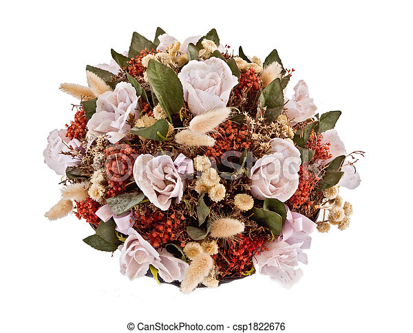 Decorative traditional wick basket with fake flowers in it - csp1822676