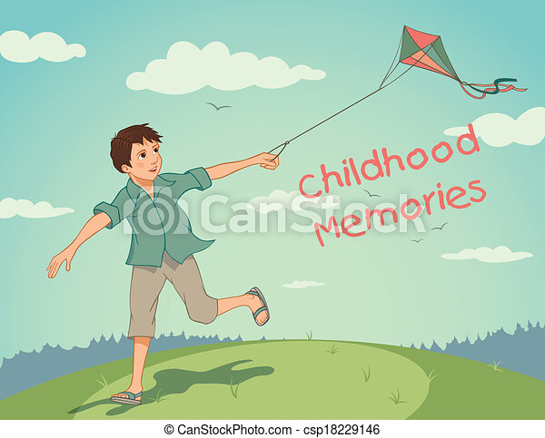 EPS Vector of Happy running boy with a kite. Childhood ...