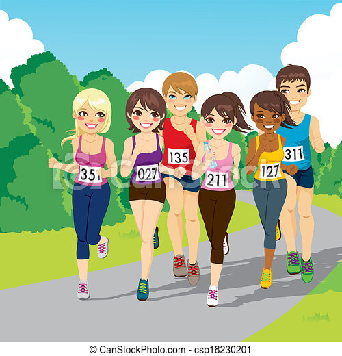Vector Clipart Of Marathon Running Competition Group