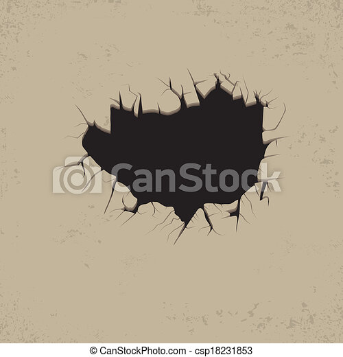 Clipart vectorial de agujero grietas pared agujero - Agujero en la pared ...