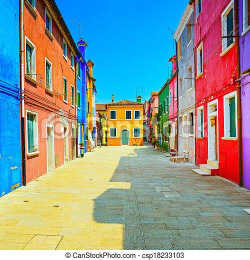 Venice landmark, Burano island street, colorful houses, Italy - csp18233103
