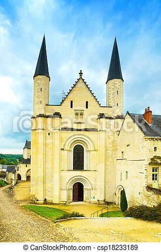 Fontevraud Abbey landmark, west facade church. Religious building. Loire Valley. France, Europe. - csp18233189