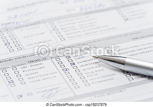 Filling up emergency medical form document - csp18237879