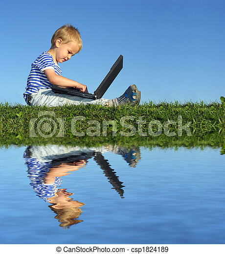 child with notebook sit blue sky and water - csp1824189