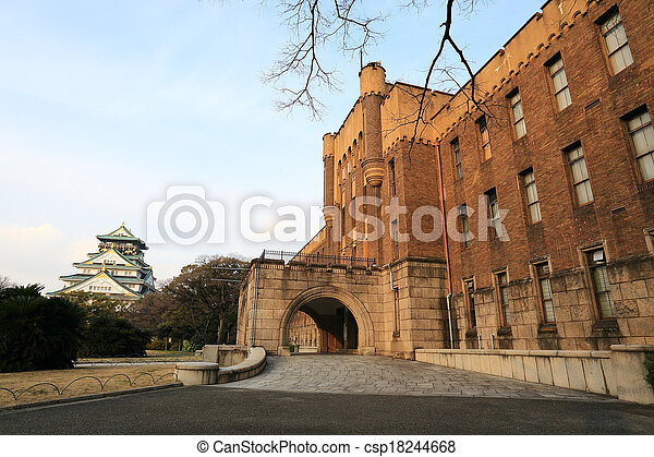 Japão,  Osaka, histórico, castelo,  Osaka - csp18244668