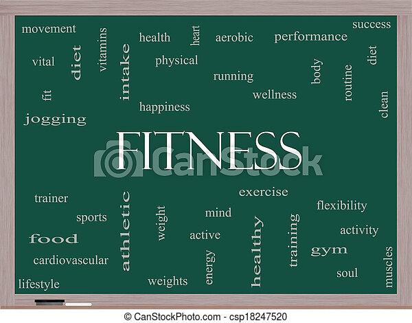 blackboard, begrepp, ord, moln, fitness - csp18247520