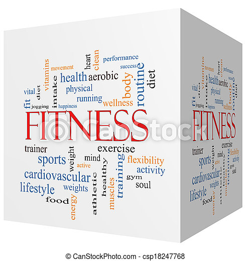 Fitness 3D cube Word Cloud Concept - csp18247768