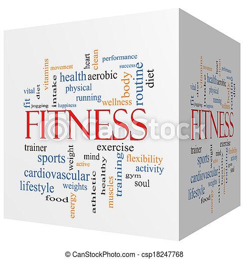 Fitness 3D cube Word Cloud Concept - csp18247768
