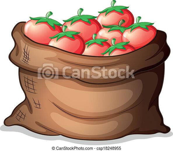 Clipart Vectorial De Saco Tomates Ilustraci 243 N De Un