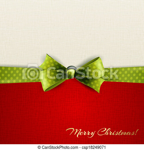 Holiday background with green polka dots bow - csp18249071