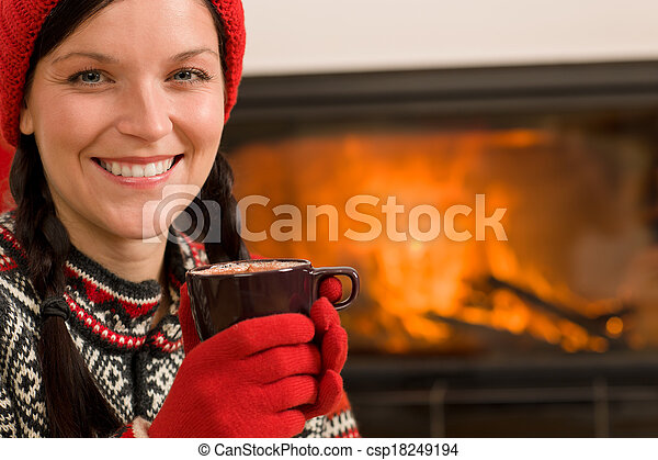 Fireplace winter Christmas woman drink home