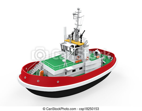 Stock Illustrations of Tugboat Isolated on white background. 3D render ...