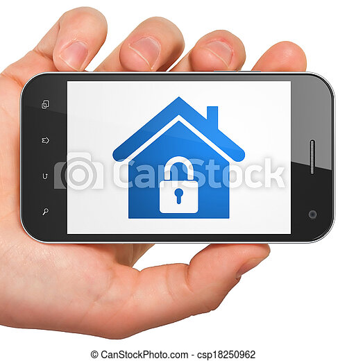 Finance concept: Home on smartphone - csp18250962