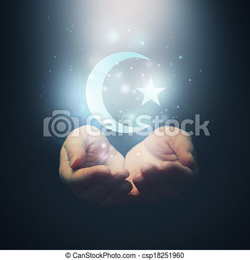 Female hands opening to light and Halh moon and star, symbol of islam religion - csp18251960