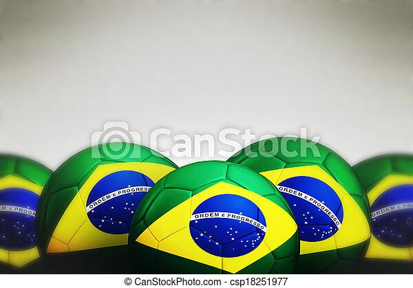 Soccer ball with Brazil flag - csp18251977