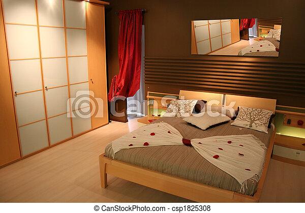 Photo - bois, chambre à coucher, blanc, Placard - image, images ...
